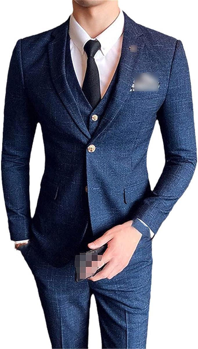 Jacket + Vest + Pants Fashion Men's Plaid Casual Suit high-end Social Formal wear 3-Piece Suit for Groom Wedding