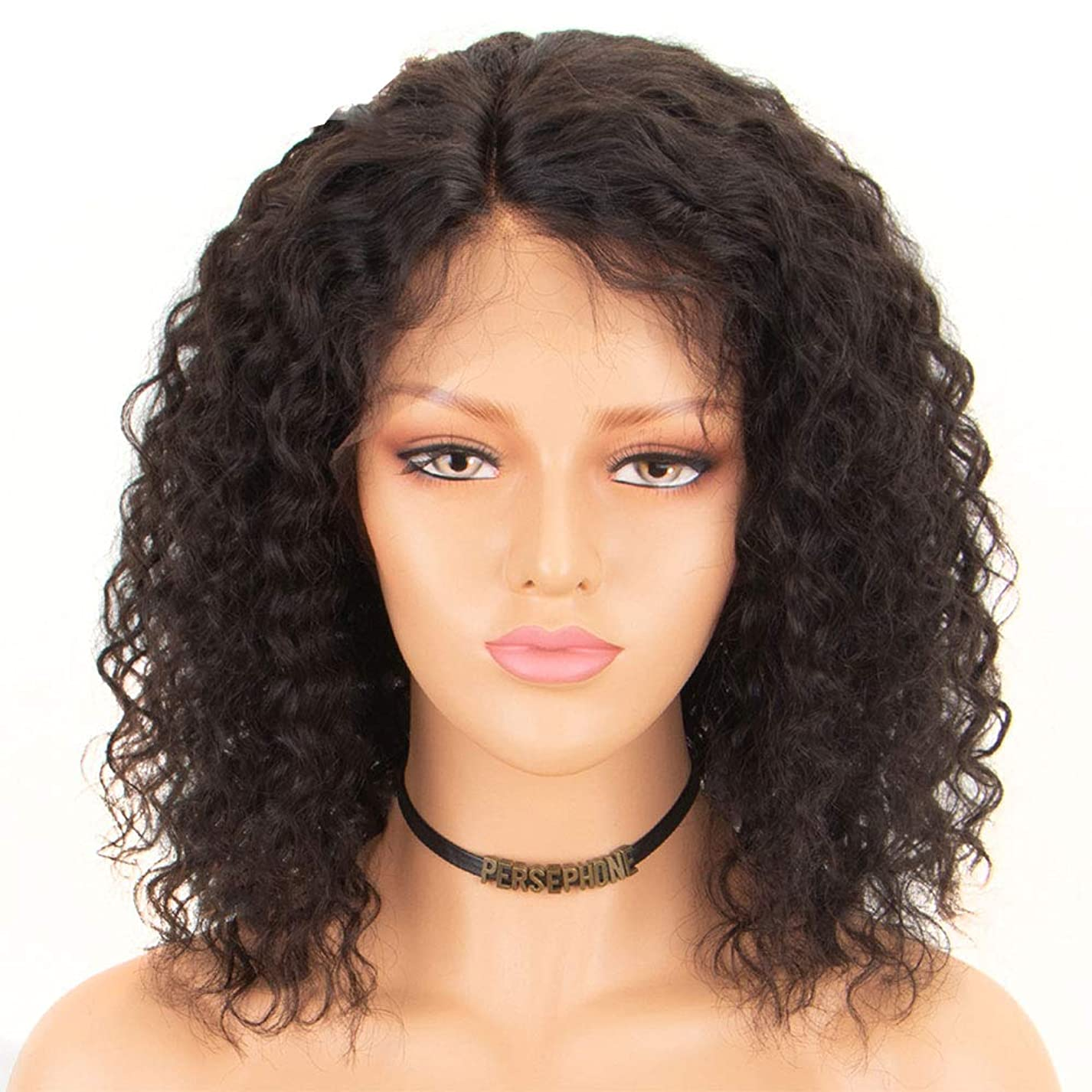 懇願するヒューマニスティック祝福する黒人女性100%人毛カーリー360レース前頭かつらブラジルのremy毛360レースかつらフルエ付きベビーヘアー14インチ