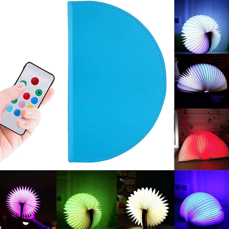 Licht CELINEZL Faltbare Seiten Bunte Dimmen Buch Form LED-Licht, Kreative Tragbare USB-Lade Halbkreis Nachtlicht mit Fernbedienung (Blau) (Farbe   Blau)