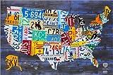 Poster 30 x 20 cm: Nummernschild Karte der USA von Design