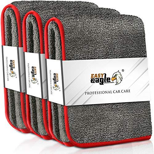 EASY EAGLE 3X Mikrofasertücher 1200GSM zur Professionellen Autopflege, Ultraweich für Perfekte Lackpflege, Rote Kante, 38 x 45 cm