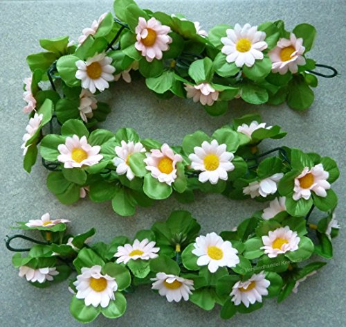 CBK-MS® Blumengirlande Sonnenblumen hell rosa ca. 120 cm - zum verschönern Ihres Fahrrades oder Ihrer Wohnung
