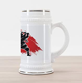 Lunarable Japan Beer Stein Mug, Silhouette Samurai on Vermilion Grunge Style Background Tribal, Traditional Style Decorative Printed Ceramic Large Beer Mug Stein, Red Black and White