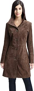 Women's Aubrey Suede Leather Walking Coat (Regular and Plus Size and Short)