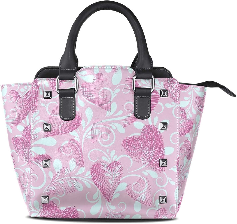 My Little Nest Women's Top Handle Satchel Handbag Valentine Pink Hearts Ladies PU Leather Shoulder Bag Crossbody Bag