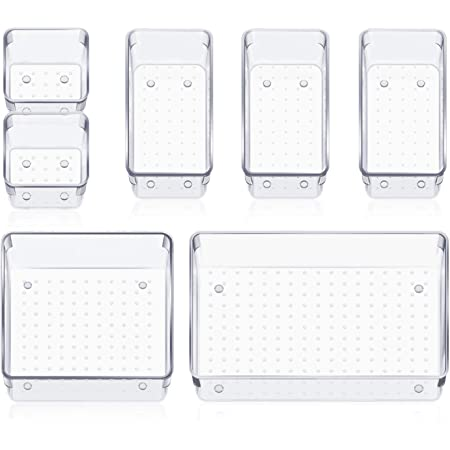 HEETA Set of 7 Desk Drawer Organiser Trays with Non-Slip Silicone Pads, 4-Size Clear Plastic Storage Boxes Divider for Makeup, Jewelries, Utensils in Bedroom Dresser, Office and Kitchen(Transparent)