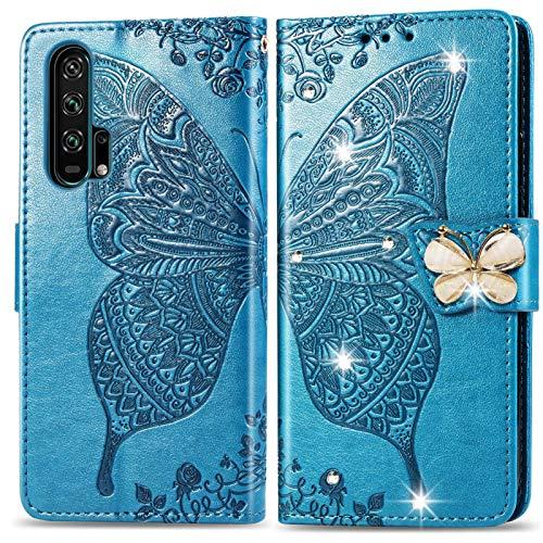 Suhctup Funda para Huawei Nova 5T, tipo libro de piel sintética con diseño de mariposa y flores, con soporte y función de apoyo para tarjetas