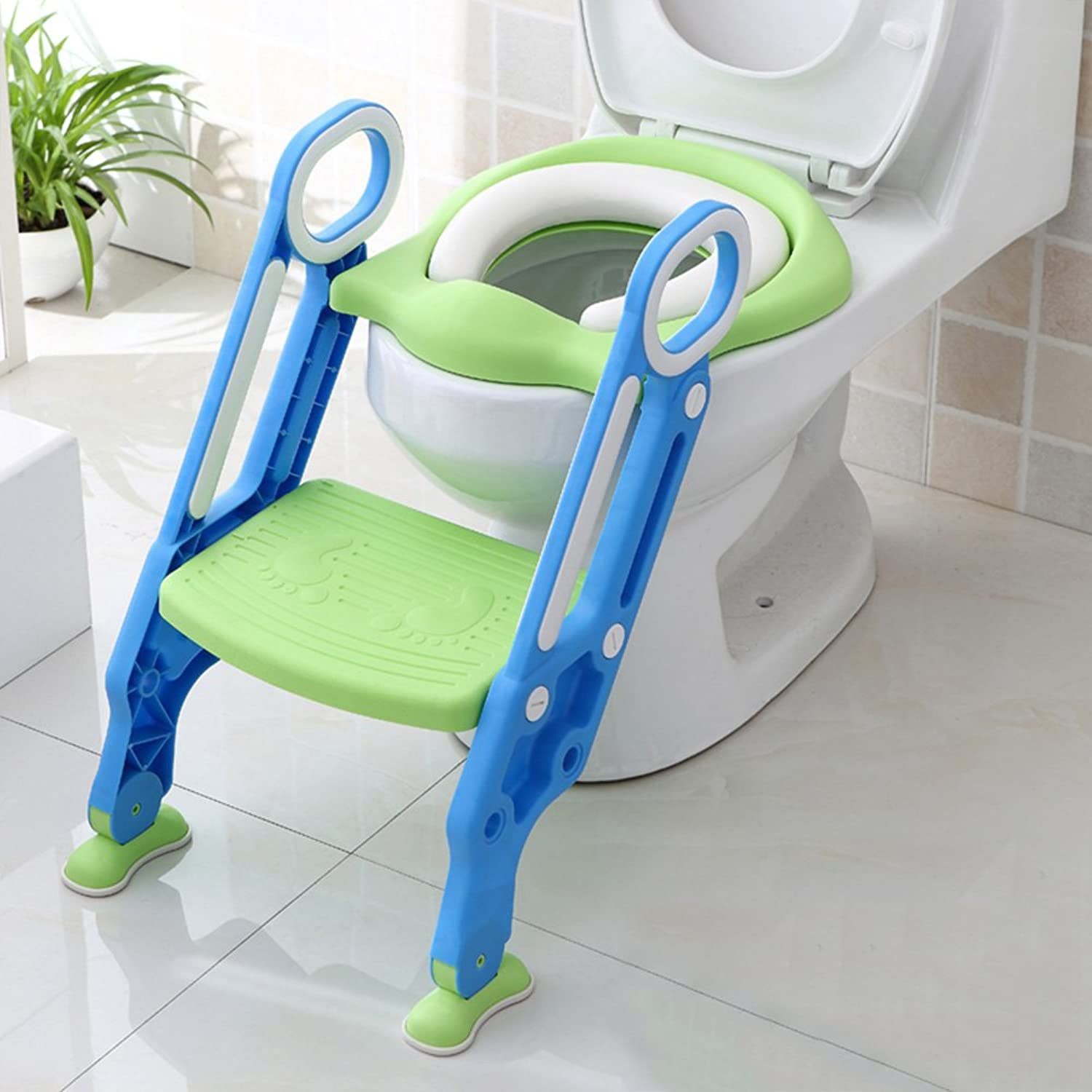 Olpchee PP Foldable Adjustable Potty Toilet Training Seat Baby Toddler Kid Non-Slip Step Stool Potty Ladder Chair (bluee Green, Hard)