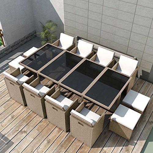 Tidyard Conjunto Muebles de Jardín de Ratán 33 Piezas con Taburetes Sofa Jardin Exterior Sofas Exterior Ratan Conjunto Jardin para Jardín Terraza Patio en Poli Ratán Gris y Beige