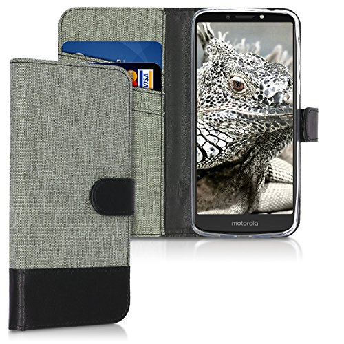 kwmobile Motorola Moto E5 Plus Hülle - Kunstleder Wallet Case für Motorola Moto E5 Plus mit Kartenfächern & Stand - Grau Schwarz