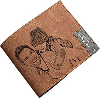 Personalized Mens Custom Photo engrave Wallet Leather Wallet The Perfect Mens Gift, Boyfriend Gift, Father's Day Gift Personalized Gifts for Men(Brown)