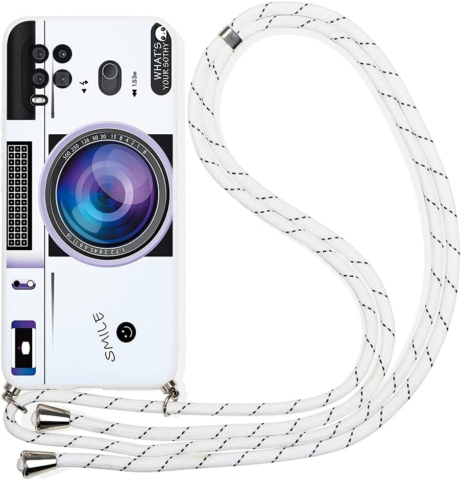 Pnakqil Compatible with Xiaomi Redmi Note 6 Case 6.26 inch,Crossbody Adjustable Necklace Lanyard with Fashion Pattern Design Soft White TPU Shockproof Protective Case for Redmi Note 6 Pro,Camera