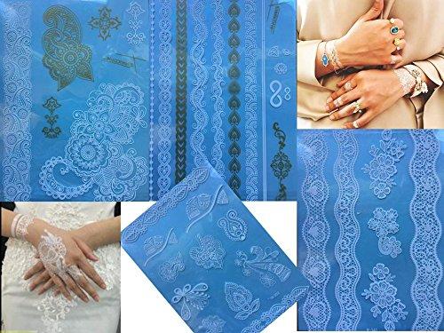 4 Feuille Tatouages temporaires Blanche et Or Henna Style White Gold Flora pour le corps Bijoux corporel