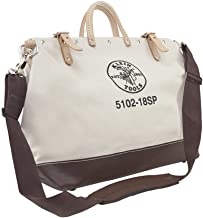 Klein Tools 5102-18SP Deluxe Canvas Tool Bag Made of Natural Canvas with 13 Interior Pockets and Detachable Shoulder Strap, 18-Inch