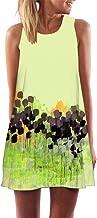 iYBUIA Summer Vintage Boho Women Loose Summer Sleeveless 3D Floral Print Bohe Tank A-Line Mini Dress