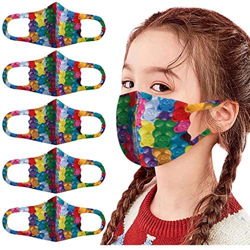 Blingko 5 Stück Mundschutz mit Motiv Waschbar Lustige 3D Muster Sommer Bandanas Multifunktionstuch Atmungsaktive Wiederverwendbar für Kinder Jungen und Mädchen (M, 5pcs)