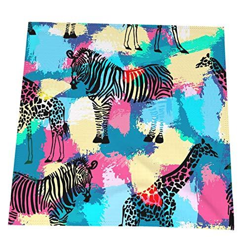 RETRUA Servietten mit Giraffen- und Zebra-Motiv, 4 Stück, Tischservietten, wiederverwendbar, waschbar, Tischdekoration...