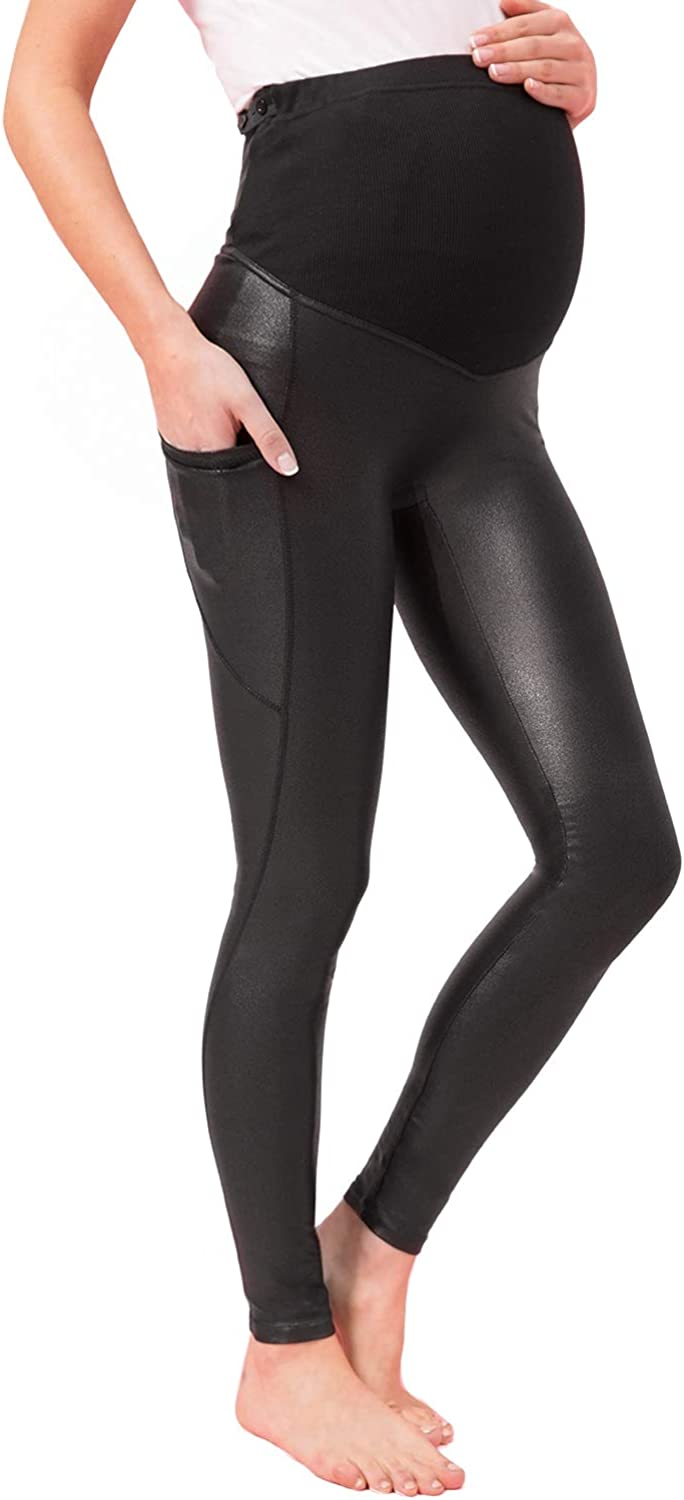 Tagoo NEW before selling Faux Leather Maternity Leggings overseas Over The Belly Pregnancy W