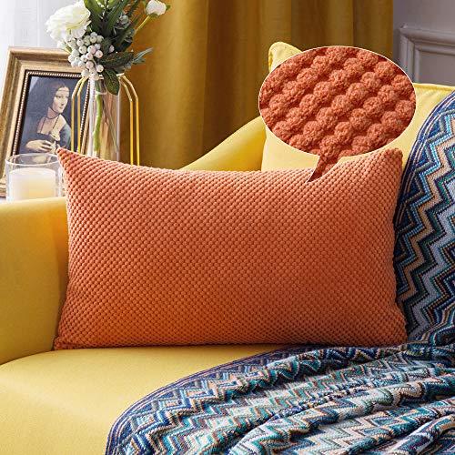 MIULEE Confezione da 1 Federa Granulare Piccola per Cuscino Fodera Morbido Quadrato Copricuscino Decorativo per Divano Lettoin Misto Poliestere 30X50 cm Arancione