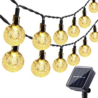 50 LED Globe Solar String Lights Outdoor, Solar Fairy Patio Lights Waterproof, Solar Powered Garden String Lights for Pati...