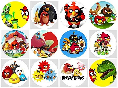 12 Stück Muffinaufleger Muffinfoto Aufleger Foto Bild Angry Birds (31) rund ca. 6 cm *NEU*OVP*