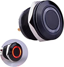 Ulincos Momentary Push Button Switch U19D1 1NO SPST Black Metal Shell with Red LED Ring Suitable for 19mm 3/4