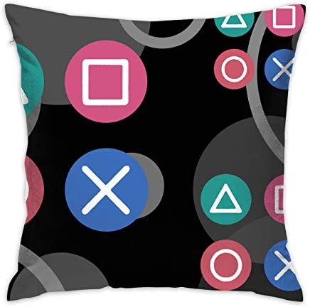 HomeMats Play Station Vintage Icon Throw Pillow Case Square Decorative Cushion Case Cover for Couch Sofa Bed 18