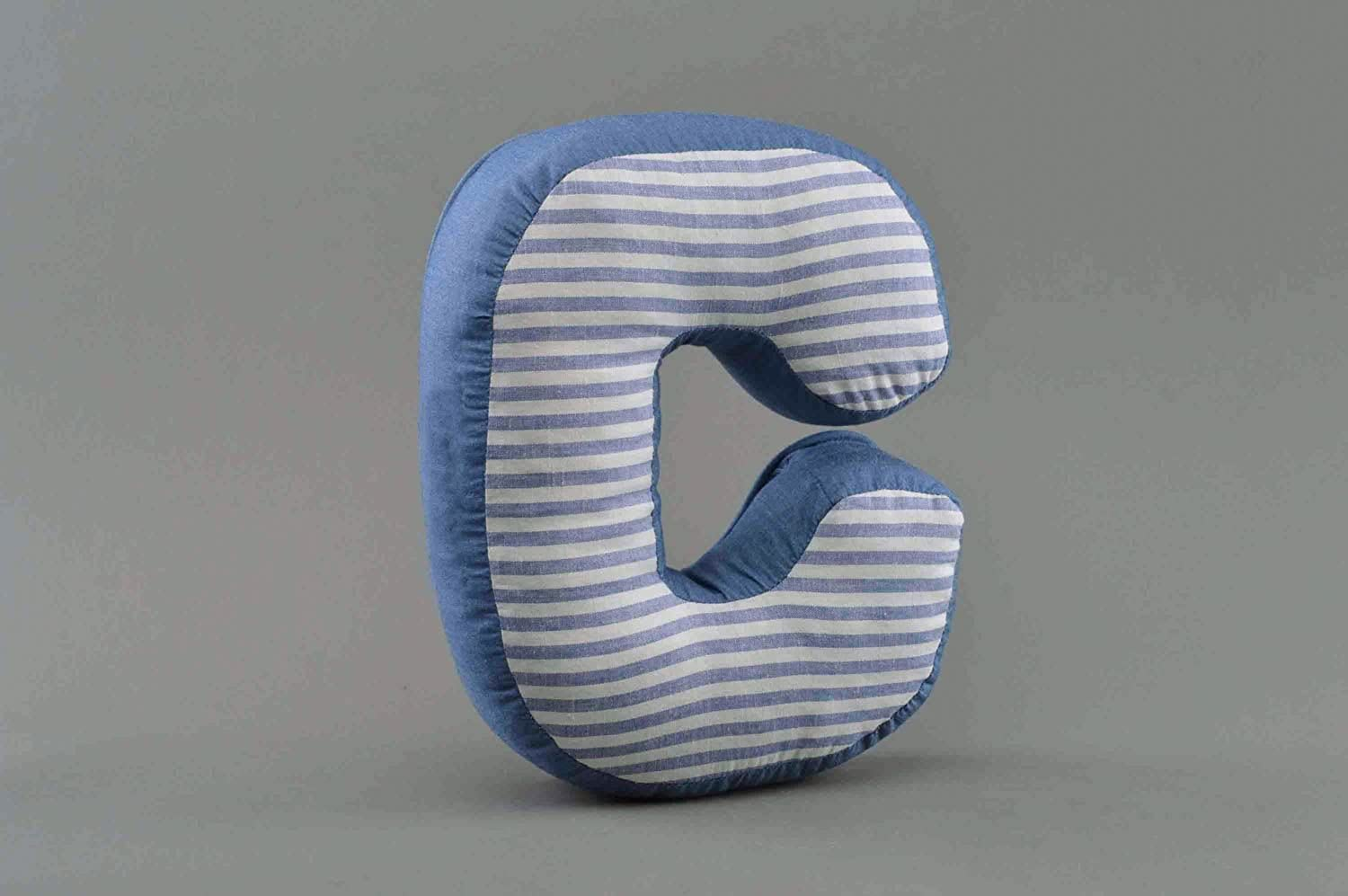 Homemade Decorative Soft Toy Pillow Letter C Sewn of bluee and Stripped Fabric