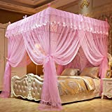 Mengersi Flowers 4 Corner Canopy Bed Curtains,...