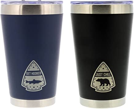 """featured product Reduce Cold-1 Insulated Drink Tumbler Cup with Lid,  2 Pack - Pint Size,  Camping Series - Blue """"Get Hooked"""" / Black """"Just Chill"""" - 16 oz,  Keeps Drinks Hot/Cold - Stainless Steel,  Ideal for Outdoors"""