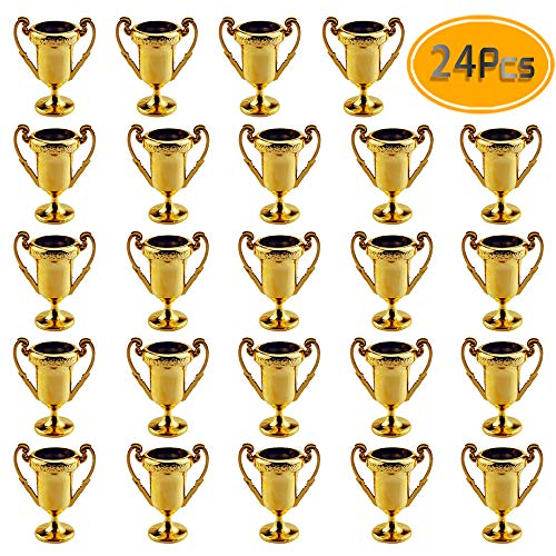 Plastic Trophies  24 Pack 2.2 Inch Cup Golden Trophies For Children, Competitions, Awards, Parties, Party favors, Props, Rewards, Prizes, Games, School, Field Day, Boys And Girls
