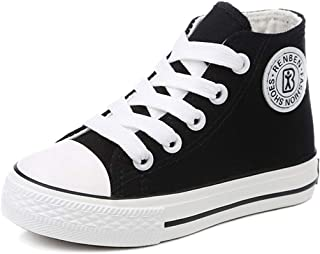 E-FAK Toddler Kids Boys Girls Canvas Sneakers High Top Lace up Casual Walking Shoes(Toddler/Little Kid/Big Kid)