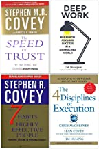 The Speed of Trust, Deep Work, The 7 Habits of Highly Effective People, 4 Disciplines of Execution 4 Books Collection Set
