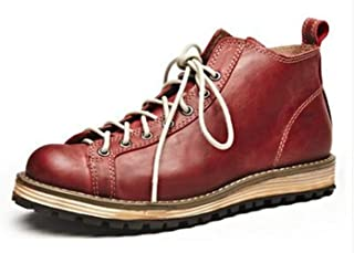 (TM Mens Genuine Leather Winter Lace up Round Toe Martin Boots Men's Military Boots