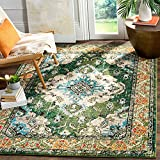 """Safavieh Monaco Collection MNC243F Boho Chic Medallion Distressed Non-Shedding Stain Resistant Living Room Bedroom Area Rug, 6'7"""" x 9'2"""", Forest Green / Light Blue"""