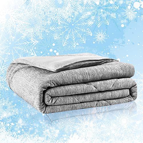 Cooling Comforter, Full/Queen Size All Season Avolare Reversible Down Alternative Comforter, Soft&Lightweight Summer Cooling Blanket, Arc-chill Fiber&Egyptian Cotton, Machine Washable(79x86'',Gray)
