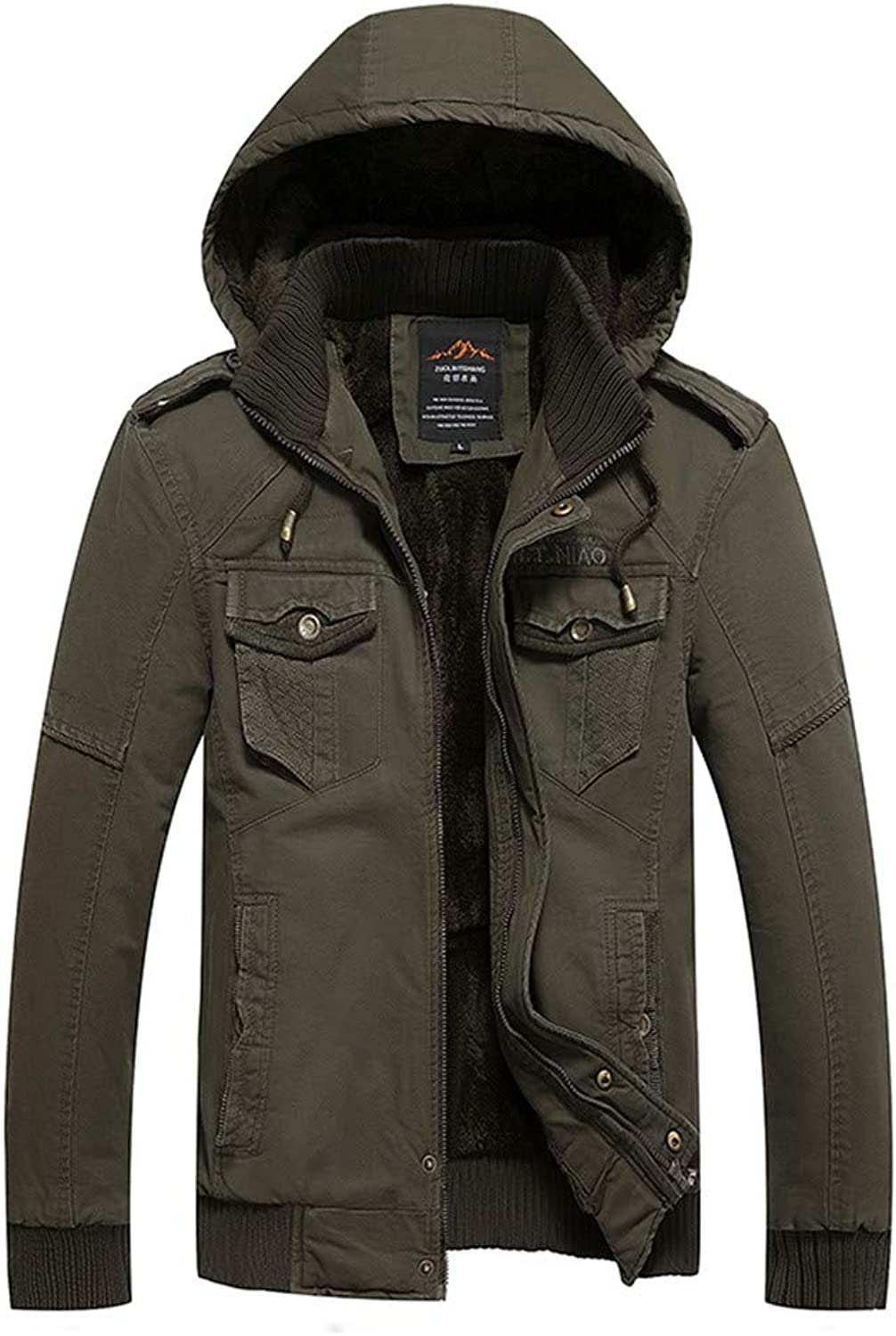 Mens Autumn Winter Jacket Overcoat Outwear Long Trench Zipper Caps Coat (color   Army Green, Size   XXXXL)