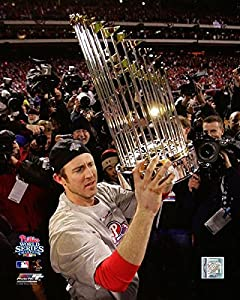 "Phillies Chase Utley World Series Trophy 8"" x 10"" Baseball Photo"