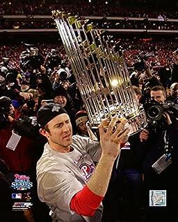 "Phillies Chase Utley World Series Trophy 8"" x 10"" Baseball Photo"