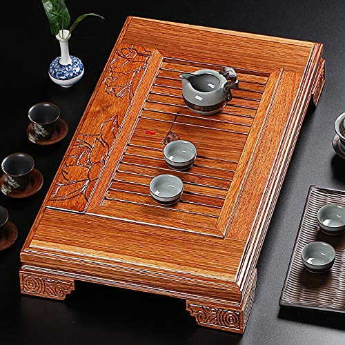 Affordable Tea Tray Chinese Gongfu Tea Ceremony Wooden Art Lotus Carving Kungfu Tea Serving Plate Te...