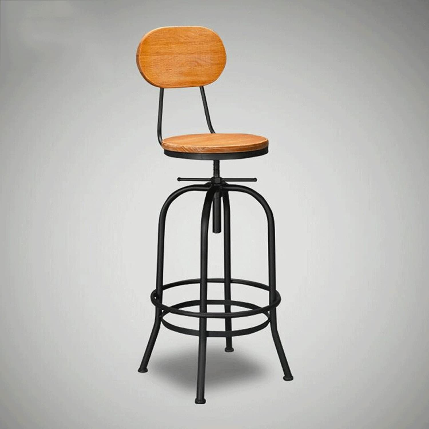 Barstool Can Be Adjusted to Sit High 68-90cm Solid Wood Backrest Chair Industrial Wind Restaurant Bar Stool Iron Leisure Chair Creative Stool