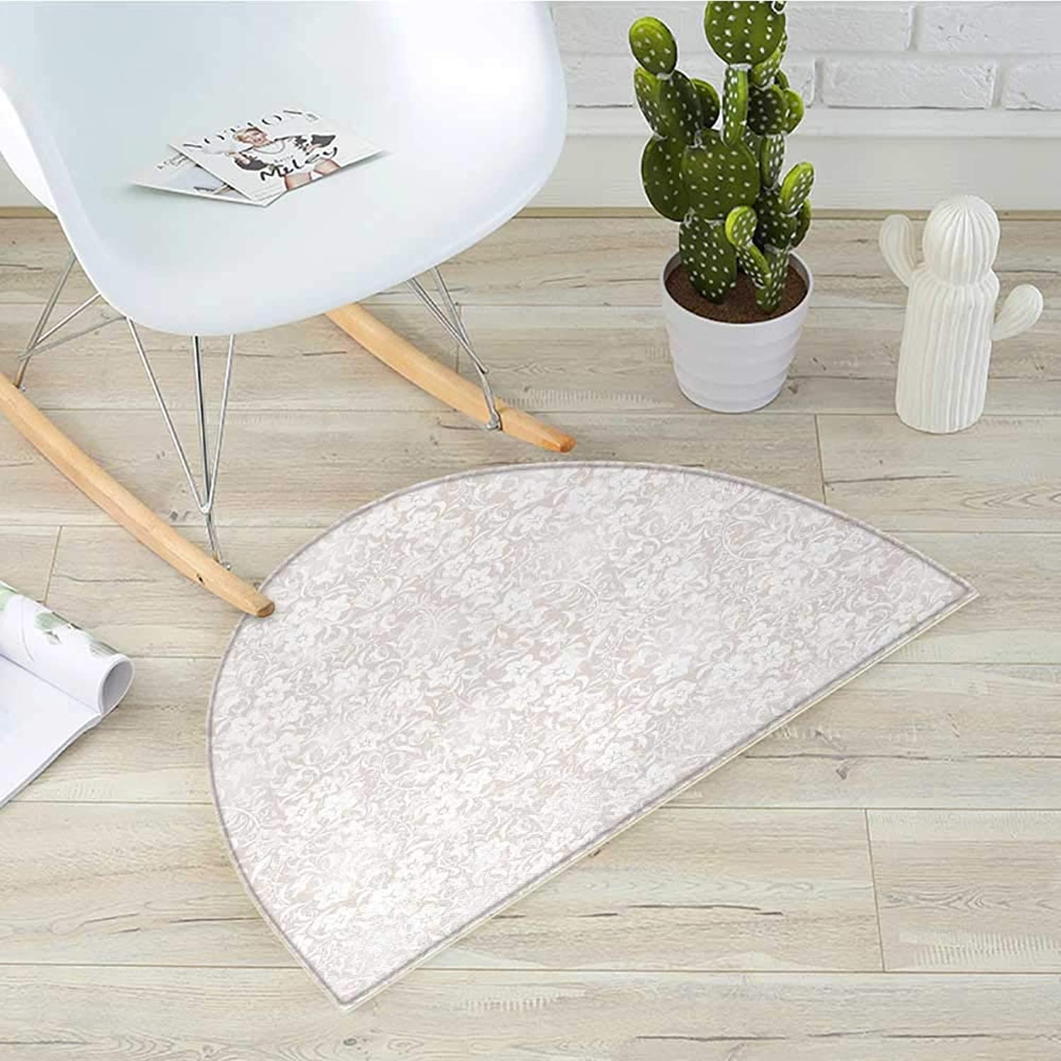 Ivory Half Round Door mats Floral Pattern Spring Season Blossoms Branches Leaf Beauty Field Ornamental Design Bathroom Mat H 43.3  xD 64.9  Beige White