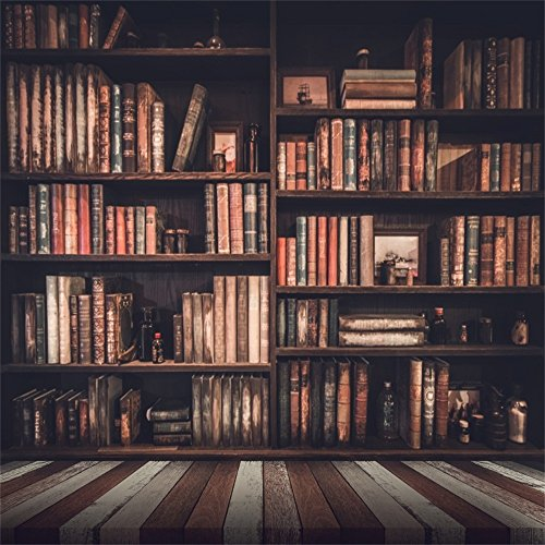Leowefowa 5X5FT Bookshelf Backdrop Bookcase Study Room Library Books Gloomy Grunge Vintage Stripes Wood Floor Interior Vinyl Photography Background Kids Children Students Adults Photo Studio Props