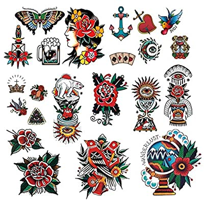 CARGEN Classic Temporary Tattoo Old School Stickers Different Sizes Waterproof Vintage Sticker Flower Arm Rose Tattoos Swallows Tattoos Butterflies Tattoos Swords Tattoos