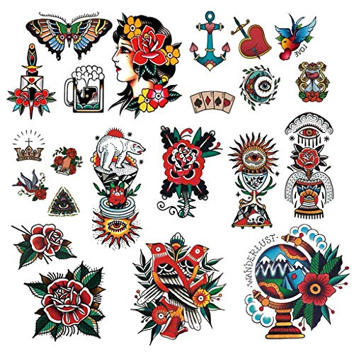 CARGEN Classic Temporary Tattoo Old School Stickers Different Sizes Vintage Sticker Flower Arm Rose Tattoos Swallows Tattoos Butterflies Tattoos Swords Tattoos