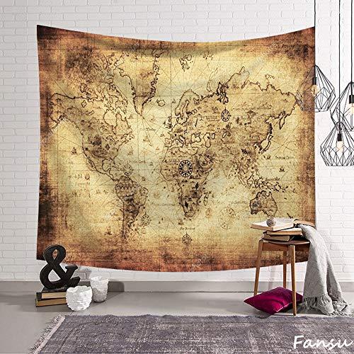 Fansu Tapiz de Pared Grande Mapa del Mundo Rectangular, artistico tapices Colgante hogar decoración Sala de Estar diseño psicodélico póster (S-150 * 130CM,Amarillo)