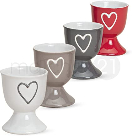 matches21 Bunte Eierbecher im 4er Set mit Herzdekor in grau rot weiß beige aus Keramik je 6x5 cm SONDERPREIS - preisvergleich