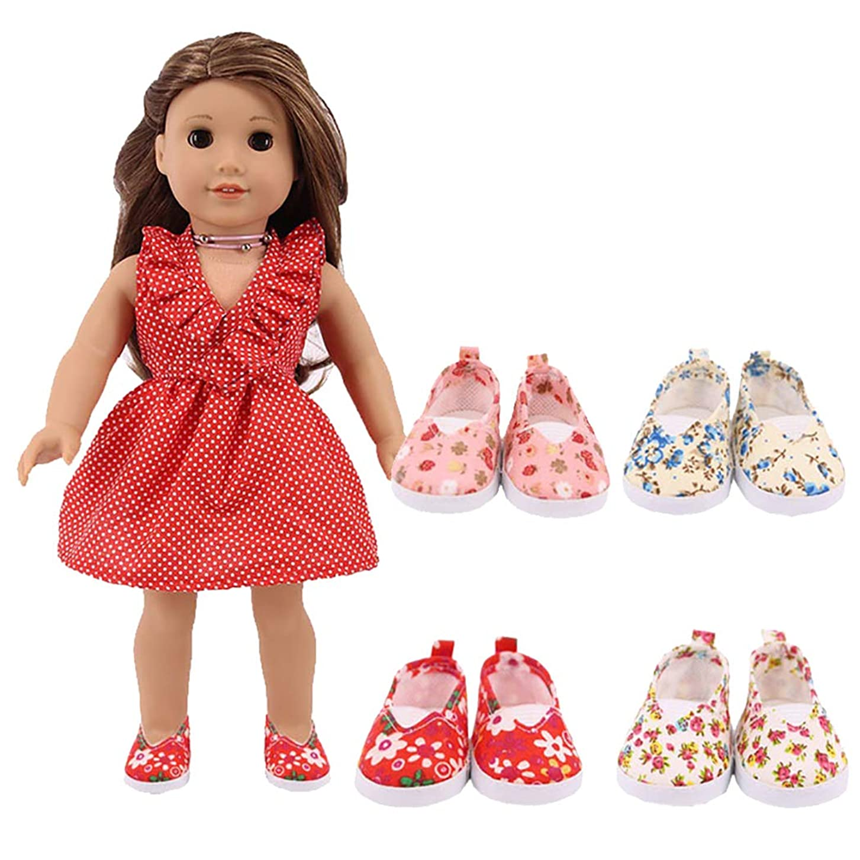 時素子しわCoxeer 4ペア人形フラットシューズ花装飾人形キャンバスシューズカジュアル人形靴