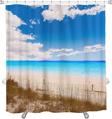 Fashion BLUE Seashore Waterproof Fabric Shower Curtain 36X72 Inches