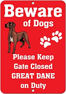 Aluminum Metal Sign Funny Great Dane Dog Beware of Fun Informative Novelty Wall Art Vertical 8INx12IN